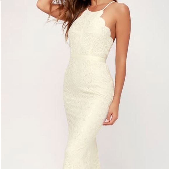 Lulu's Dresses & Skirts - Lulu's Zenith Cream Lace Maxi Dress
